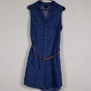 AUW chambray dress with braided belt size 12